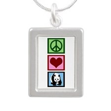 Peace Love Pandas Silver Portrait Necklace
