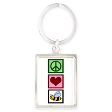 Peace Love Bees Portrait Keychain