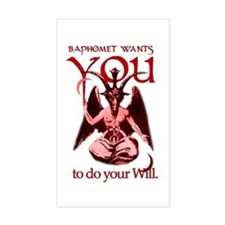 Baphomet Wants You Sticker (white rectangular)