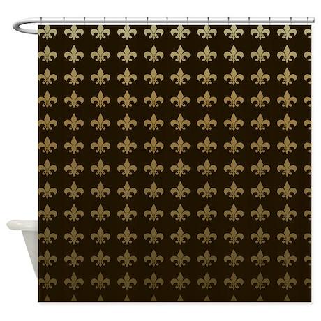 Gt bourbon bathroom d 233 cor gt chocolate fleur de lis shower curtain