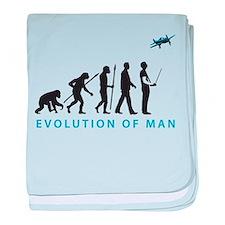 evolution of man with model plane baby blanket