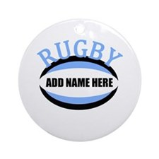 Rugby Add Name Light Blue Ornament (Round)