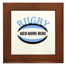 Rugby Add Name Light Blue Framed Tile