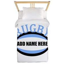 Rugby Add Name Light Blue Twin Duvet