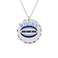 Rugby Add Name Light Blue Necklace Circle Charm