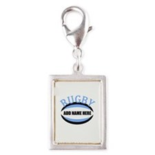 Rugby Add Name Light Blue Silver Portrait Charm