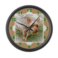 Silkie Terrier 3 Large Wall Clock