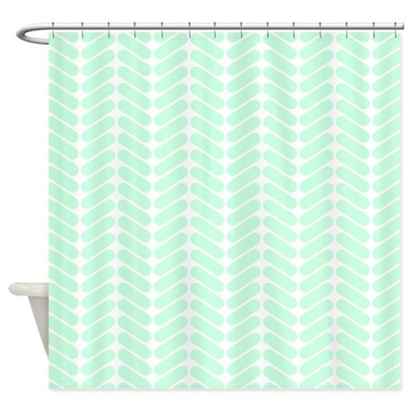 chevrons bathroom d cor mint green zigzag pattern shower curtain