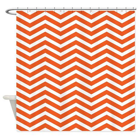 Orange zigzag shower curtain by creativeconceptz for Zig zag bathroom decor