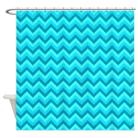 Turquoise And Teal Chevrons Shower Curtain By Metarla
