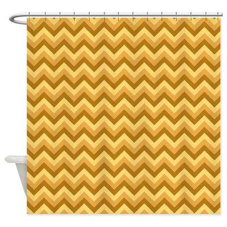 Yellow Tan And Brown Zigzag Shower Curtain By Metarla