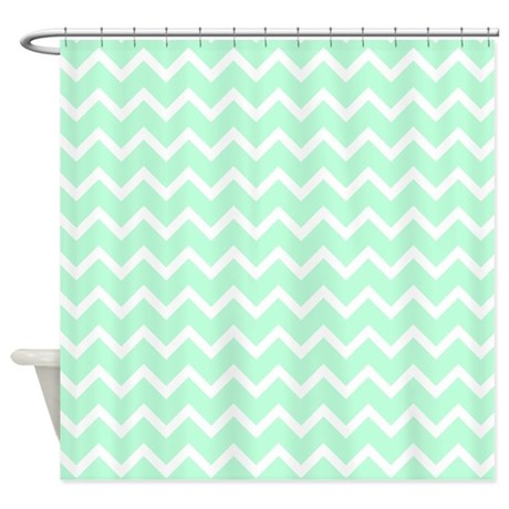 gifts chevron bathroom d cor mint green zigzags shower curtain