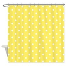 Yellow and White Dot Design. Shower Curtain
