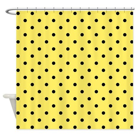 yellow and black polka dot shower curtain by metarla. Black Bedroom Furniture Sets. Home Design Ideas