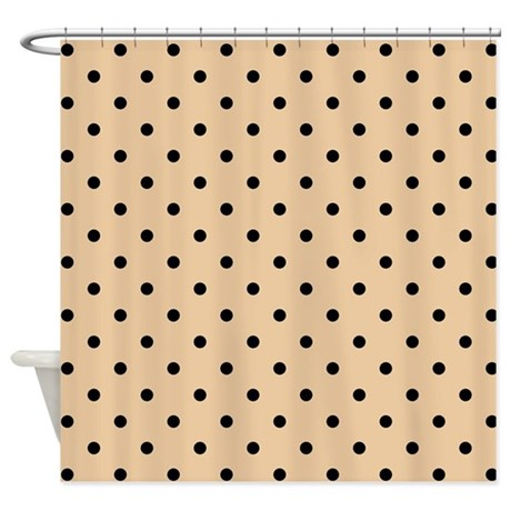 Beige And Black Polka Dot Shower Curtain By Metarla