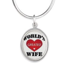 World's Greatest Wife Silver Oval Necklace