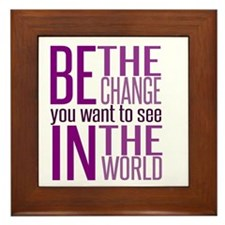 Be The Change (Purple) Framed Tile