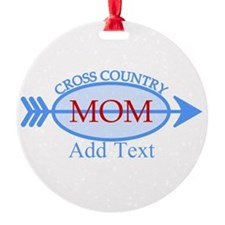 Cross Country Mom Blue Text Ornament