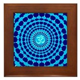 Turquoise Blue Yoga Mandala Framed Tile