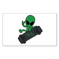 Alien Skateboarder Oval Decal