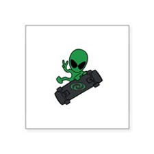 Alien Skateboarder Oval Sticker