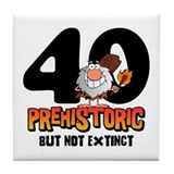 Prehistoric 40th Birthday Tile Coaster