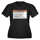 OEM warning label Women's Plus Size V-Neck Dark T-