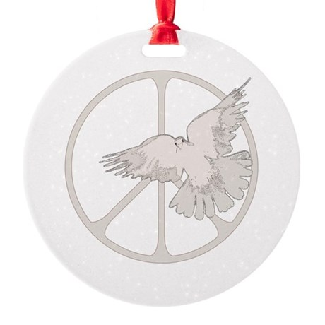 Peace Sign & Dove .png Round Ornament