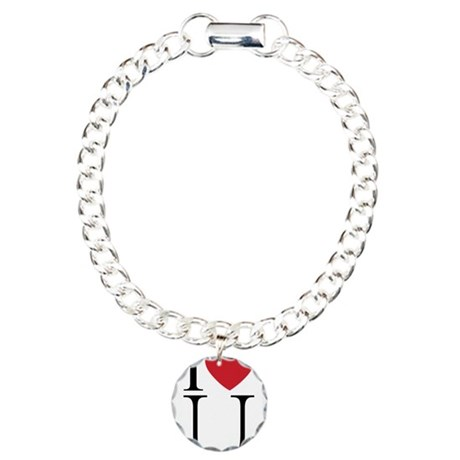 I HEART U.png Charm Bracelet with Circle Charm