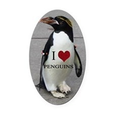 I Love Penguins Oval Car Magnet