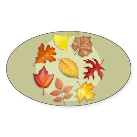 Leaves Oval Sticker