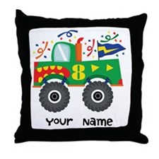 8th Birthday Monster Truck Throw Pillow