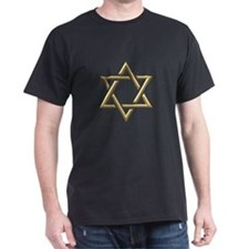 """Golden """"3-D"""" Star of David T-Shirt"""