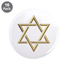 "Golden ""3-D"" Star of David 3.5"" Button (10 pack)"