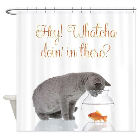 Funny Cat and Fishbowl Shower Curtain
