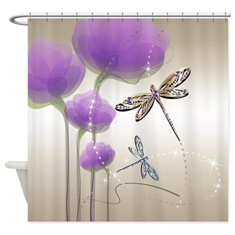 Dragonflies and Purple Flowers Shower Curtain