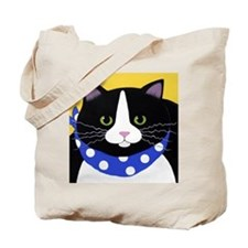 FAT Black Tuxedo CAT Tote Bag