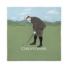 Personalized vintage golf scene Queen Duvet
