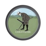 Personalized vintage golf scene Wall Clock