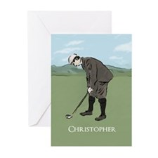 Personalized Vintage golf scene Greeting Cards (Pk