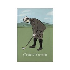 Personalized Vintage golf scene Rectangle Magnet