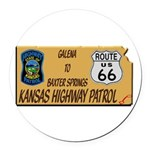 Kansas Highway Patrol Route 66 Round Car Magnet
