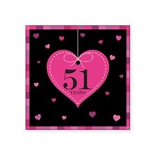 "51st Anniversary Heart Square Sticker 3"" x 3"""
