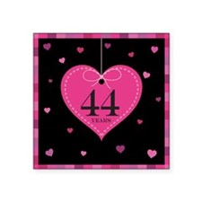 "44th Anniversary Heart Square Sticker 3"" x 3"""