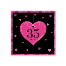 "35th Anniversary Heart Square Sticker 3"" x 3"""