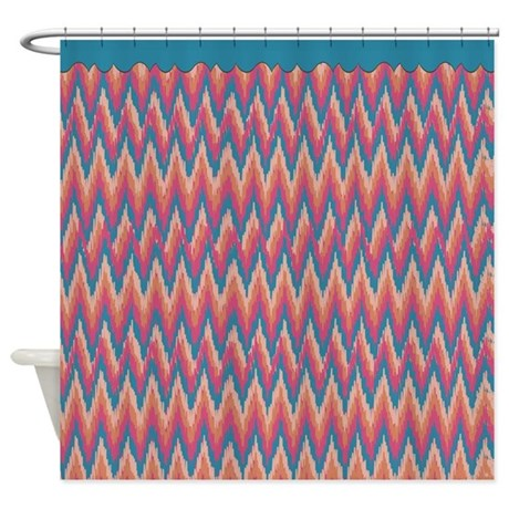 Turquoise and Coral iKat ZigZag Shower Curtain