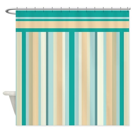 Teal And Neutral Stripes Shower Curtain By Getyergoat