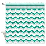 Trendy Emerald Chevron Shower Curtain