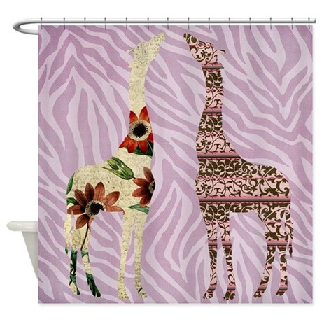 Pink Zebra Print With Giraffes Shower Curtain By Be