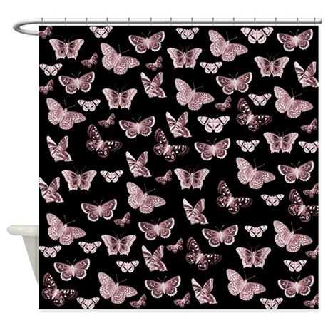 Pink And Black Butterflies Shower Curtain By Be Inspired By Life